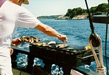 grilled fish on the boat